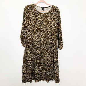 NWT Robert Louis Leopard Shift Dress Large #4394